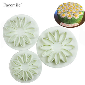 3Pcs/set Veined Sunflower Daisy Gerbera Flower Fondant Gift Cookie Plunger Gift 01064