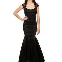 Rain-Black Lace and Taffeta Prom Dress