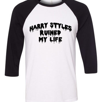 """Harry Styles Ruined My Life"" Baseball Tee"