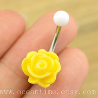 yellow rose Belly Button jewelry,rose Navel Jewelry,rose bud belly button ring,girlfriend gift,summer jewelry,rose Belly Button jewelry