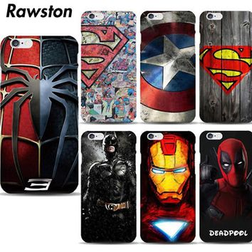 Marvel Avengers Superman Hard Case Cover for iPhone 8  7 6s Plus 5s 5 SE funda Batman Super Hero Captain America capa capinha
