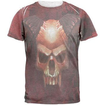 Halloween Horned Demon Skull From Hell Mens T Shirt