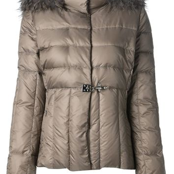 Fay racoon fur-trim padded coat