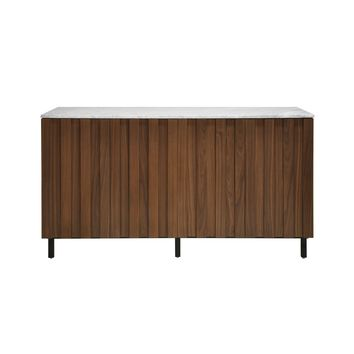 Worlds Away 4 Door Ashwood Sienna Cabinet with Marble Top