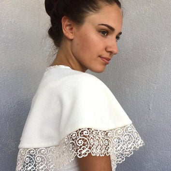 Bridal Lace Bolero, Wedding Lace Cape, Ivory Fleece Bolero, Winter Wedding Cape, Bridal Cover Up, Embroidery Bolero, Soft Short Cape