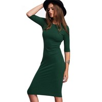 Work Summer Style Women Bodycon Dresses Sexy Casual Green Crew Neck Half Sleeve Midi Dress drop shipping designer clothes