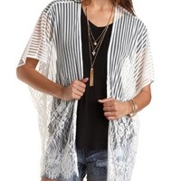 Striped Mesh & Lace Kimono Top by Charlotte Russe