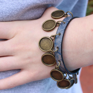 Charm Bracelet, Leather Charm Bracelet, Cameo Bracelet, Blue Leather, Antique Bronze, Leather Metal Bracelet PPP PepperPotLeatherShop