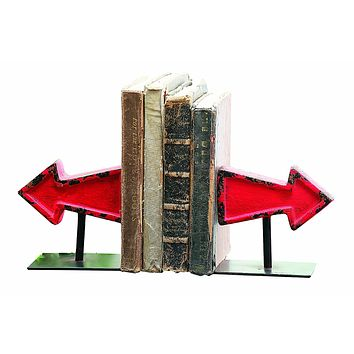Vintage Red Cast Iron Arrow Bookends
