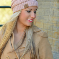 Dusty Rose Slouchy Knit Beanie