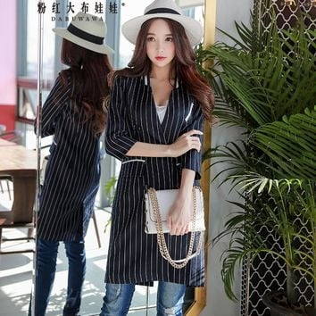 Trendy Dabuwawa Women Autumn Striped Jacket Black V neck Office Lady Long Jackets Double Breasted Wide-Wasted Slim Outwear AT_94_13