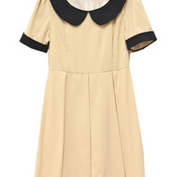 Retro Collar Short Sleeve Apricot Dress(Coming Soon) [NCSKI0151] - $35.99 :