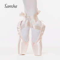 Sansha Ballet Pointe Shoes Satin Upper With Ribbon  Girls Women's Pink Professional Ballet Shoes SP