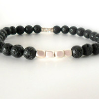 Men's Silver and Black Lava Stone Bracelet // Gifts for Him // Casual Jewelry