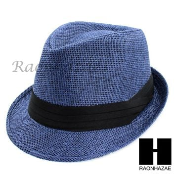 1d6ed52c43b588 MEN WOMEN SUMMER BEACH PANAMA STRAW FEDORA TRILBY CUBAN BLUE HAT F003