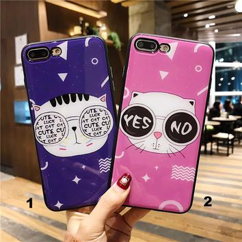 Myopic cat Glass texture mobile phone case for iPhone X 7 7plus 8 8plus iPhone6 6s plus -171212