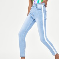 "HI-RISE ""VINTAGE"" JEGGINGS WITH SIDE STRIPESDETAILS"