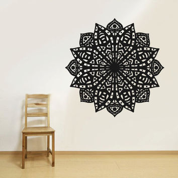 Wall Decal Vinyl  Mural Sticker Art Decor Bedroom Yoga Kitchen Ceiling Mandala Menhdi Flower Pattern Ornament Om Indian Hindu Buddha (z2836)