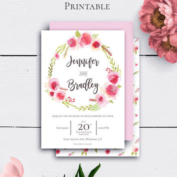 Customized Rose Wreath Invitations, Wedding Invitation, Printable Watercolor Download, Botanical Wedding, Floral Wreath, Vintage Wedding