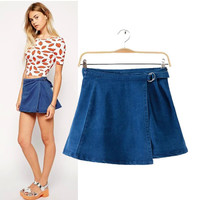 Stylish Waistband Double-layered Denim Women's Fashion Skirt [5013353924]