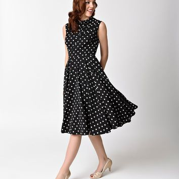 Unique Vintage 1940s Black & Ivory Dotted Sleeveless Olson Swing Dress