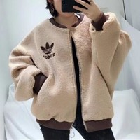 """""""Adidas"""" Women Casual Fashion Multicolor Letter Long Sleeve Cardigan Lambswool Coat"""