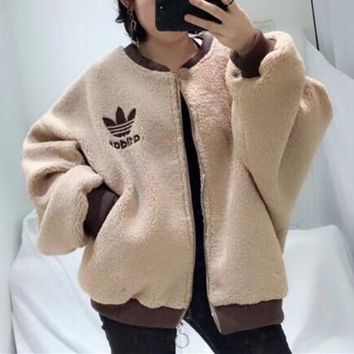 """Adidas"" Women Casual Fashion Multicolor Letter Long Sleeve Cardigan Lambswool Coat"