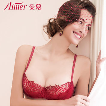 Women 5/8 Light Petite Cup Sexy Solid Red Bra