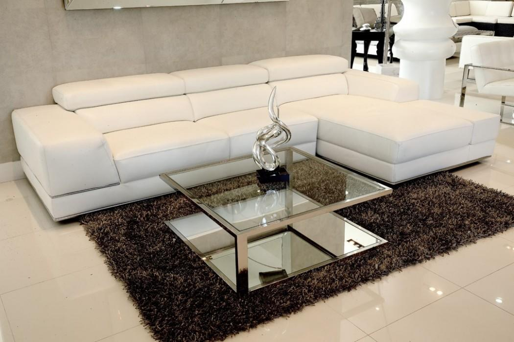 Terrific Sofa White Leather Bergamo Sectional Modern Furniture Stores Modani Furniture Pabps2019 Chair Design Images Pabps2019Com