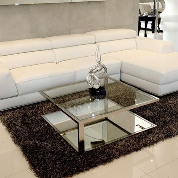 Sofa White Leather Bergamo Sectional | modern furniture stores | Modani Furniture