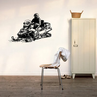 Snowmobile Sled Snowmachine Vehicle Ski-Doo Arctic Cat Bombordier engineYamaha Polaris Alpina Sherpa Snow Mountains Wall Sticker Decal 3156