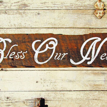 Rustic Wall Decorations For Living Room, Family Wood Signs Sayings, Bless Our Nest