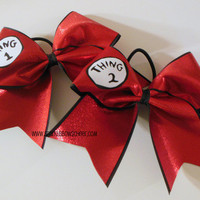 Thingy 1 and Thingy 2 Cheer Bow Black Backing by SparkleBowsCheer