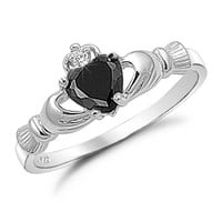 Sterling Silver Simulated Black Onyx Claddagh Ring - Sizes 3 to 12