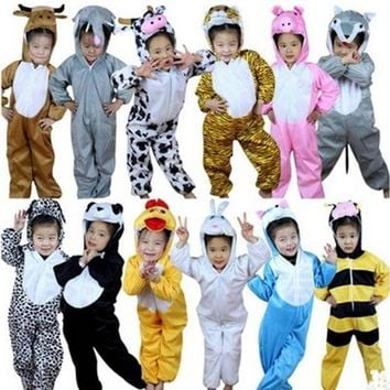 ESB6F Christmas Gift Kids Children Cartoon Winter Animal Pajamas Costume Cosplay Sleepwear Clothing Halloween Stage performance dress