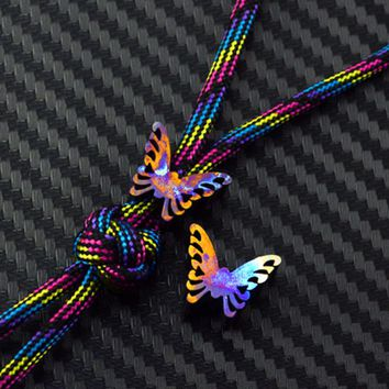 Colorful Titanium Alloy Knife Beads Butterfly Paracord Umbrella Rope Bead Outdoor EDC Tool