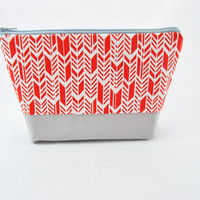 Red chevron cosmetic bag, feather, herringbone, arrow print, large pencil case, makeup bag, zipper pouch, organizer