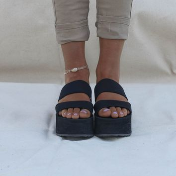 Make Time Black Chunky Platform Sandals