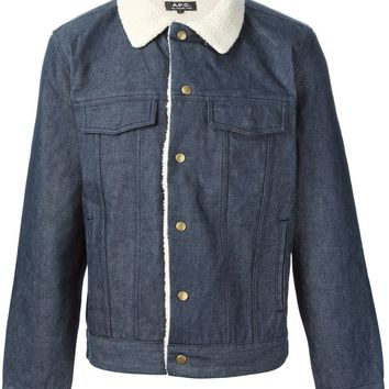 A.P.C. faux shearling lined denim jacket