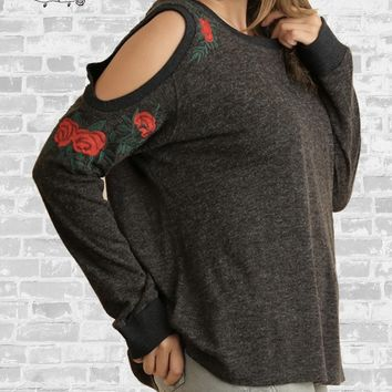 Floral Embroidered Cold Shoulder Top - Charcoal - Small or Large only