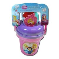 Disney Princess Bubble Bucket with 8oz Bubble Supply and 4 Wands with Stickers