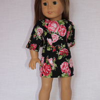 18 inch doll clothes, Ascot dress ,floral dress,black dress with pink roses, fitted dress,  american girl, Maplelea