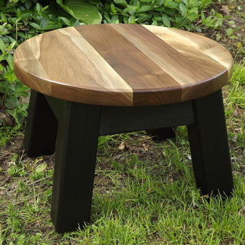 "modern/ reclaimed wood/ round stool/ step stool/ walnut sapwood top 14"" D x 9"" H"