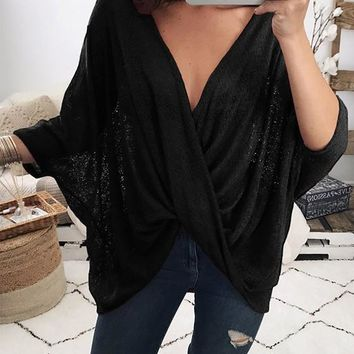 Black Plain Draped V-neck Elbow Sleeve Fashion T-Shirt