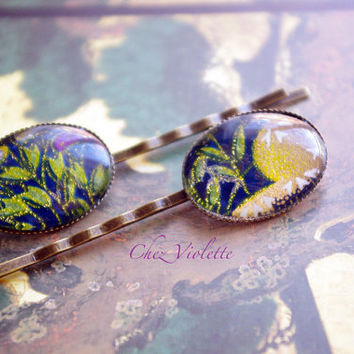 golden blue bobby pin, Bobby pins set, Japanese hair pin, oval hair pins, Hair accessory, Romantic Hairstyle