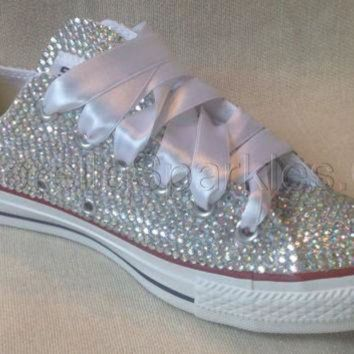 DCCKHD9 Diamante Crystal Covered Converse Wedding Prom Shoes Trainers Custom Made