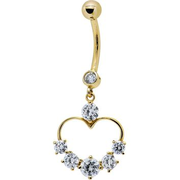 Solid 14kt Yellow Gold Cubic Zirconia Classy Heart Belly Ring