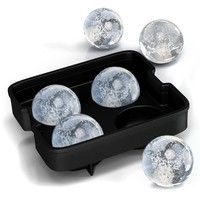 Home-Complete Ice Ball Maker Mold - 4 Whiskey Ice Balls -Premium Round Spheres Tray