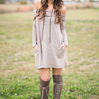 Fall Fever Off the Shoulder Shift Dress (Taupe)