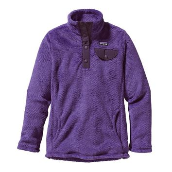 Patagonia Girls' Re-Tool Snap-T® Fleece Pullover | Violetti - Tempest Purple X-Dye